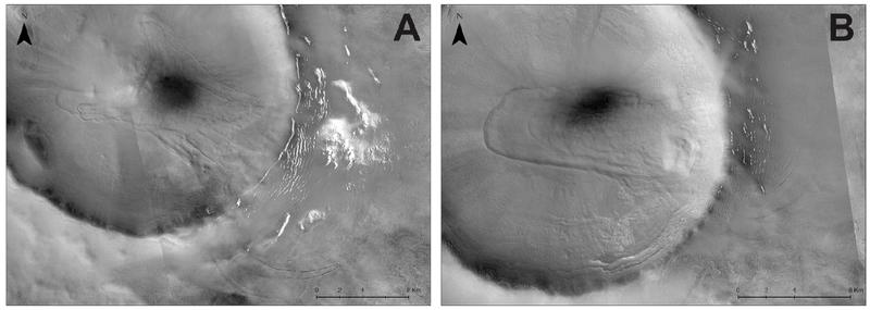 Два кратери, що містять мореноподібні гряди
