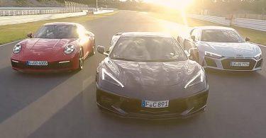 Відео: Chevrolet Corvette C8, Porsche 911 і Audi R8 поборолися на гоночній трасі