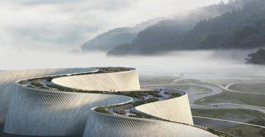 У Китаї побудують музей у формі величезної хвилі з зеленим дахом-парком