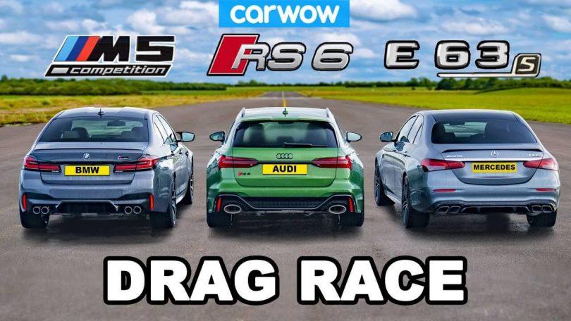 Audi RS6, BMW M5 і Mercedes-AMG E63 - дрег під дощем