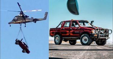 Що буде з Toyota Hilux при падінні з висоти трьох кілометрів (Відео)